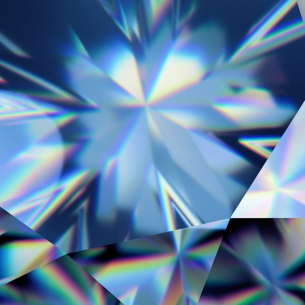 3d Abstract Blue Crystal Background, Faceted Glass